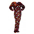 Schlafoverall (Fleece) CHOCOLATE BROWN WITH HEARTS mit Po-Klappe