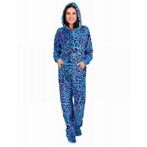 Schlafoverall NEON KITTY mit Kapuze Einteiler Jumpsuit