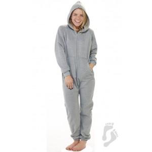 Schlafoverall Hausanzug Jogginganzug (Fleece) LAID-BACK GRAY grau mit Kapuze