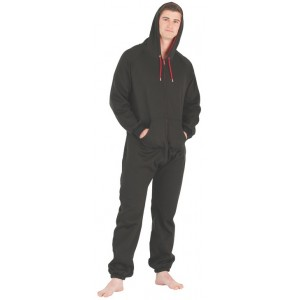 Schlafoverall Hausanzug Jogginganzug (Fleece) BLACK & RED mit Kapuze