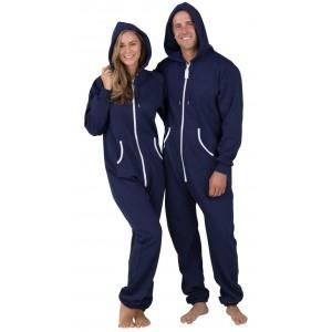 Schlafoverall Hausanzug Jogginganzug (Fleece) NAVY BLUE mit Kapuze