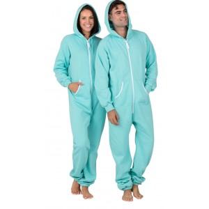 Schlafoverall Hausanzug Jogginganzug (Fleece) ARUBA BLUE mit Kapuze